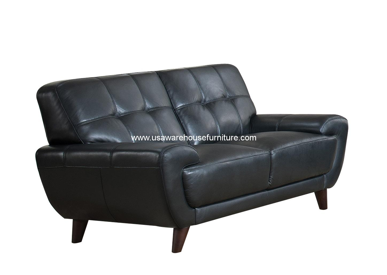 Nicole Black Full Top Grain Leather Loveseat Usa