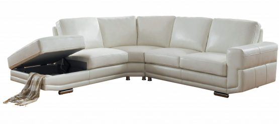 2 Piece Cecile Ivory White Leather Sectional