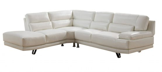 2 Piece Vivian Ivory White Leather Sectional