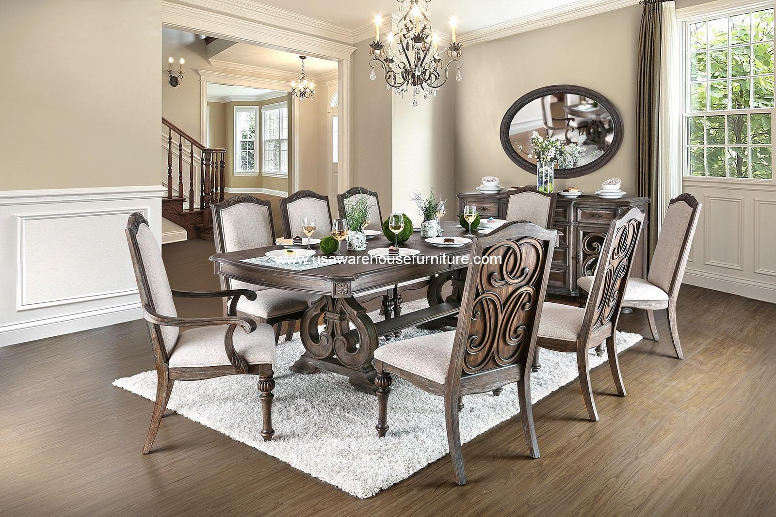 Arcadia Dining Set Rustic Natural Tone Finish
