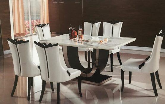 7 Pc Momo Marble Dining Set