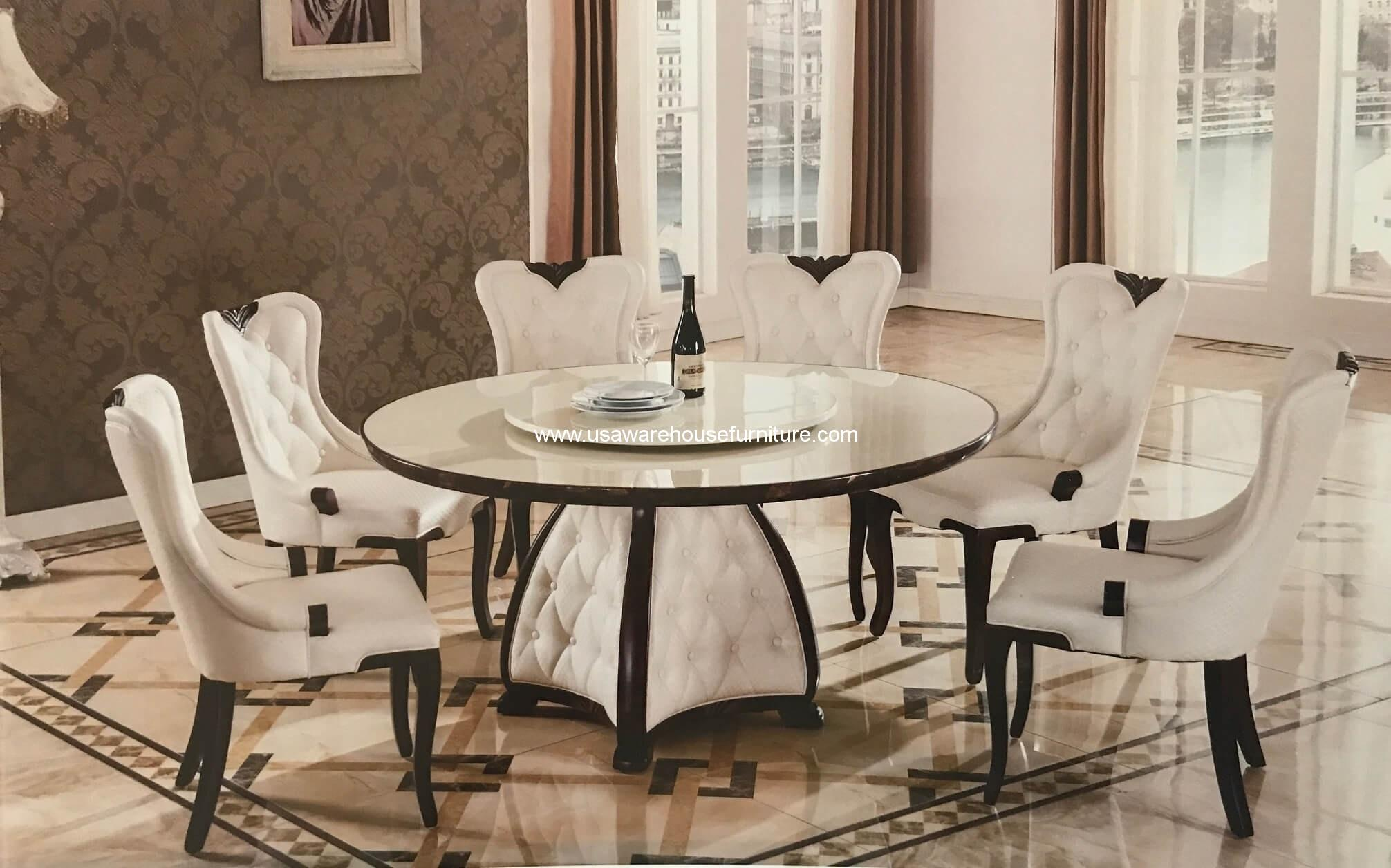 7 Pc Mystra Marble Round Dining Set Usa Warehouse Furniture