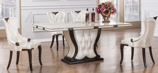 Wave Marble Round Dining Set