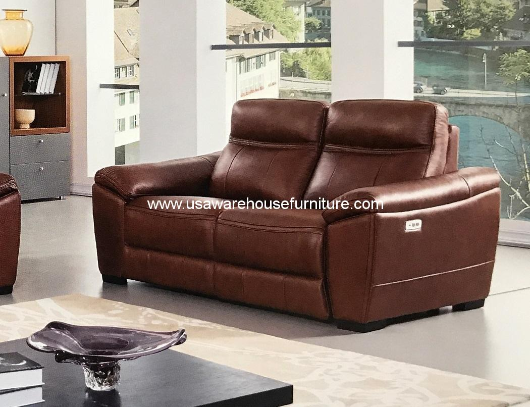 Forma Brown Full Italian Leather Power Recliner Loveseat Usa Warehouse Furniture