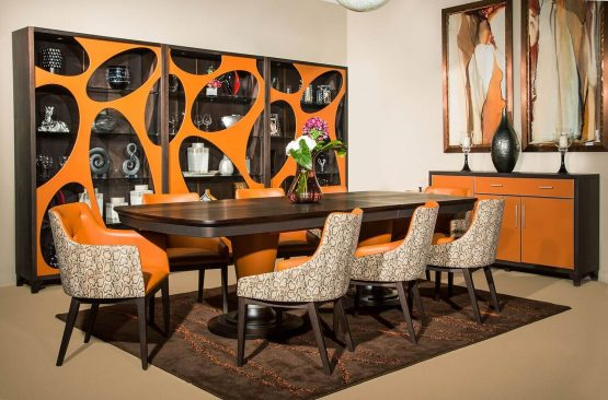 Michael Amini 21 Cosmopolitan Orange Extendable Dining Set