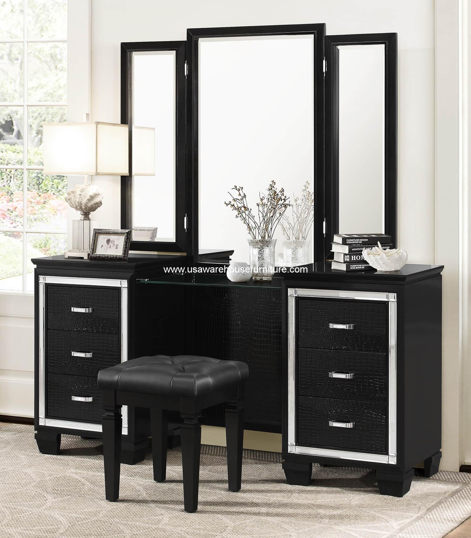 Allura vanity set with mirror and stool usa warehouse for Vanity set with mirror