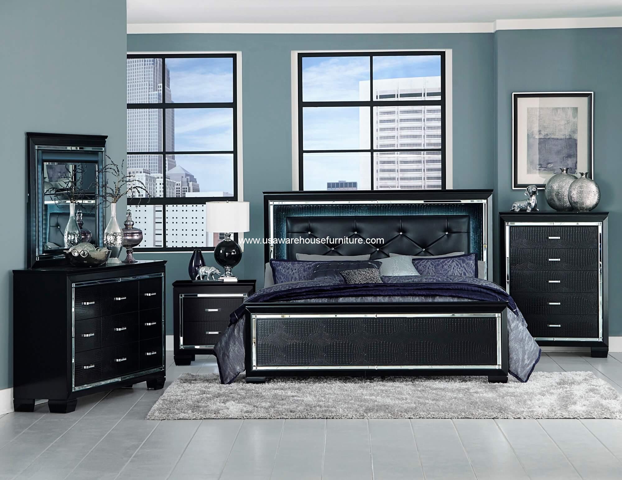 4 piece allura led panel bedroom set usa warehouse furniture for 4 piece bedroom furniture set