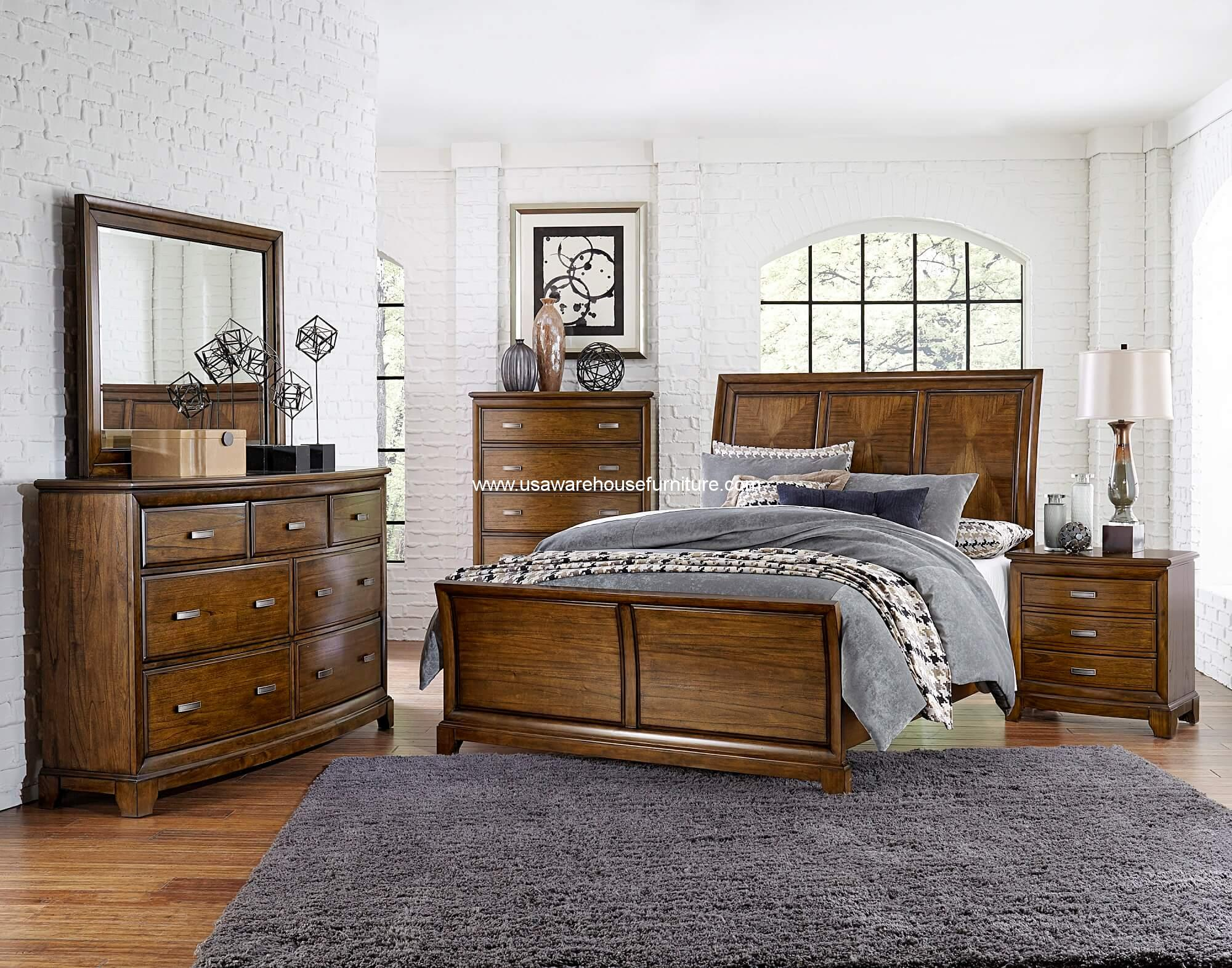 4 piece terron sleigh bedroom set oak finish usa for Oak bedroom furniture