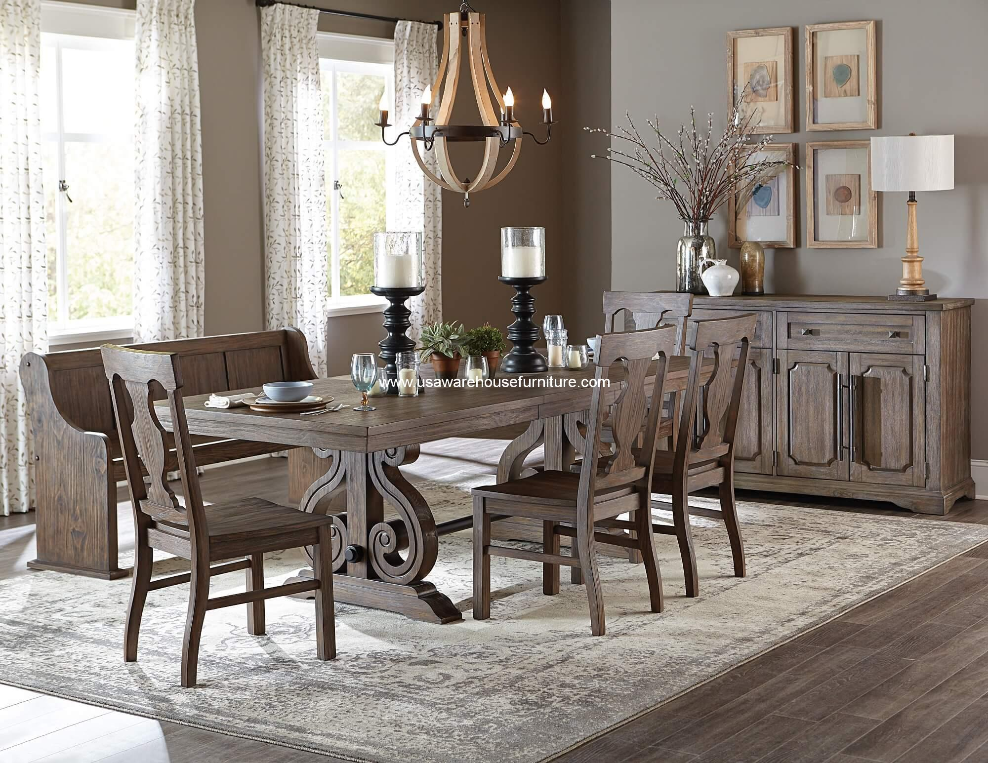 6 piece toulon dining set rustic finish usa warehouse for Rustic dining set