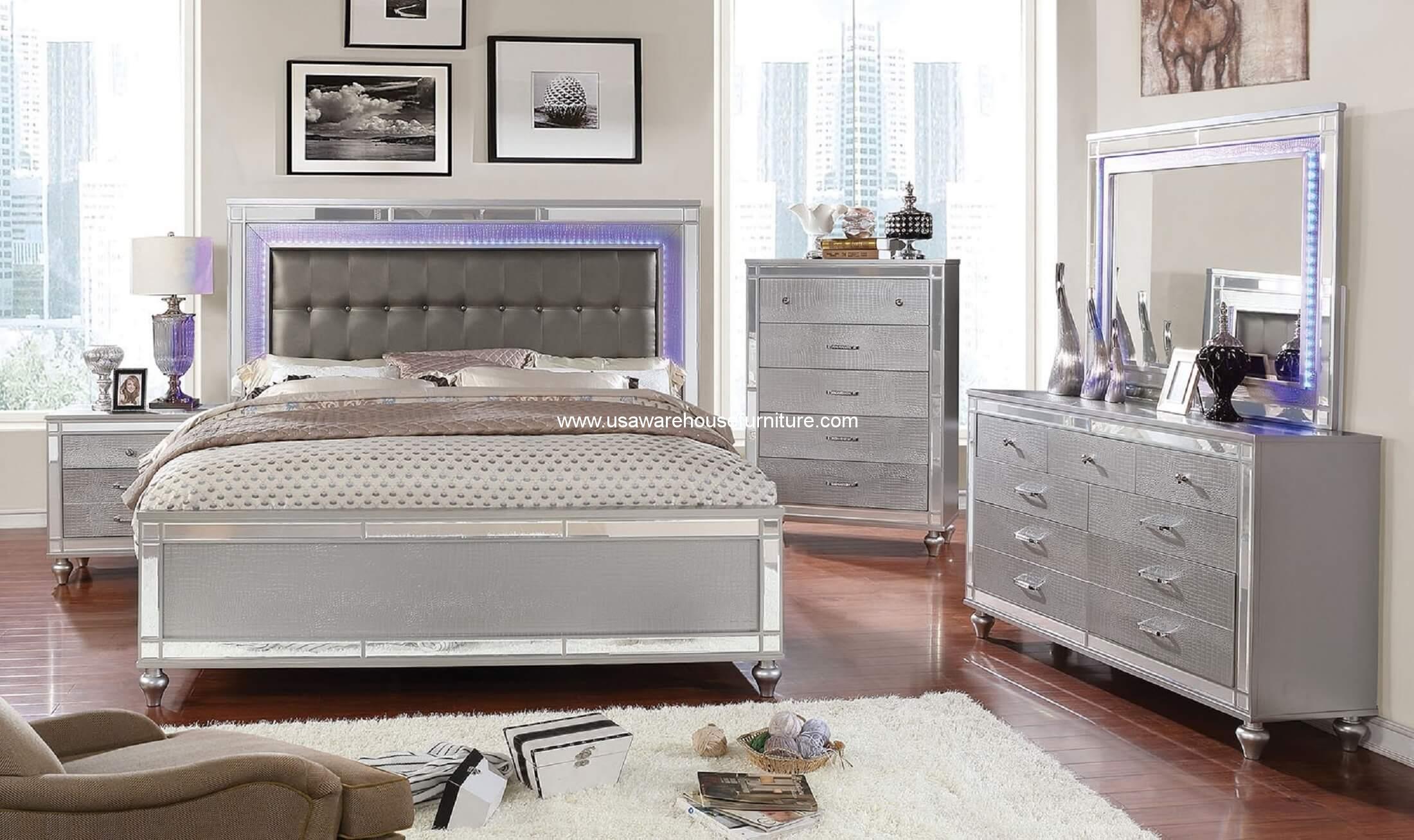 4 piece brachium modern led bedroom set usa warehouse for 4 piece bedroom furniture set