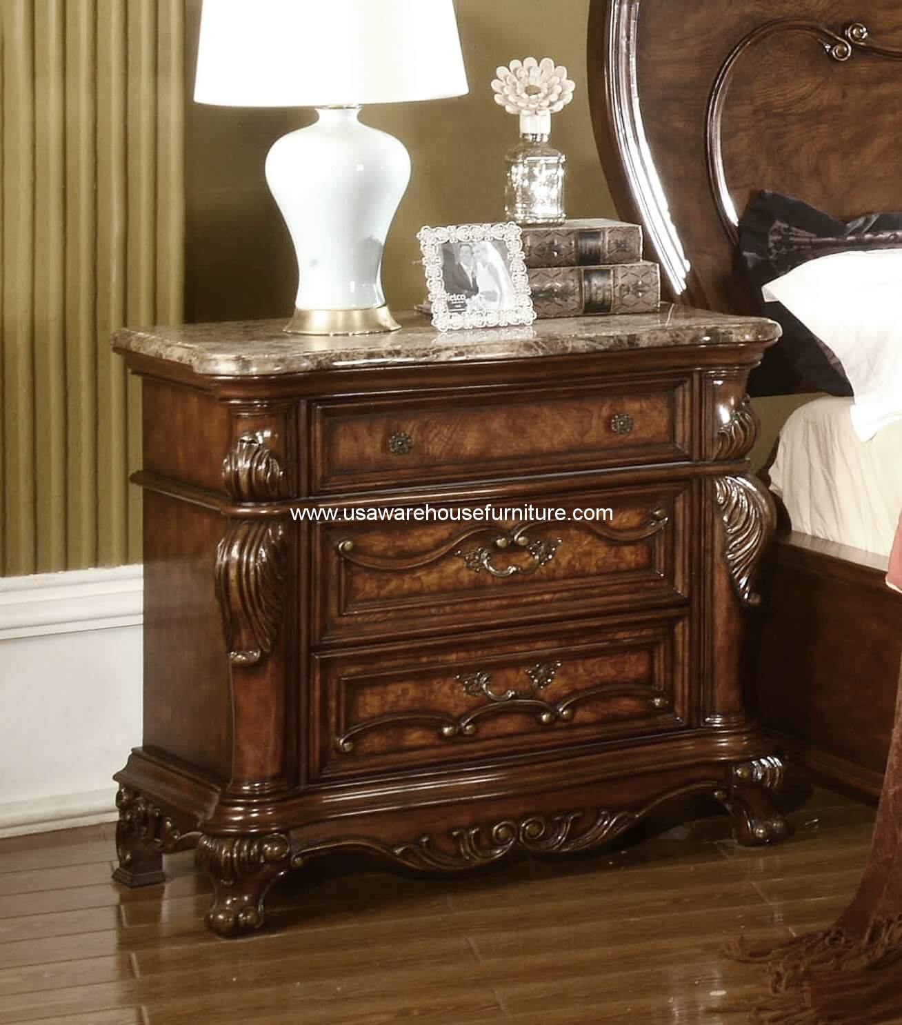 Nottingham 3 Drawer Nightstand With Marble Top Usa