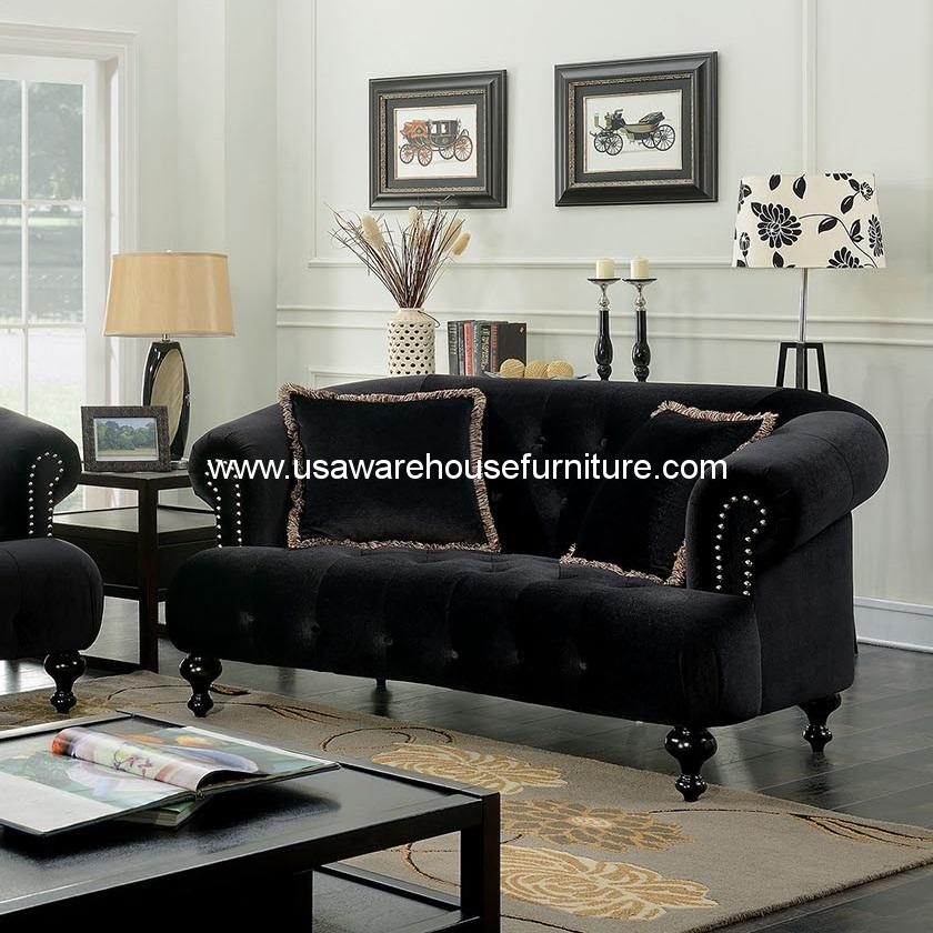 Rayne Loveseat Flannelette Black Fabric Usa Warehouse Furniture