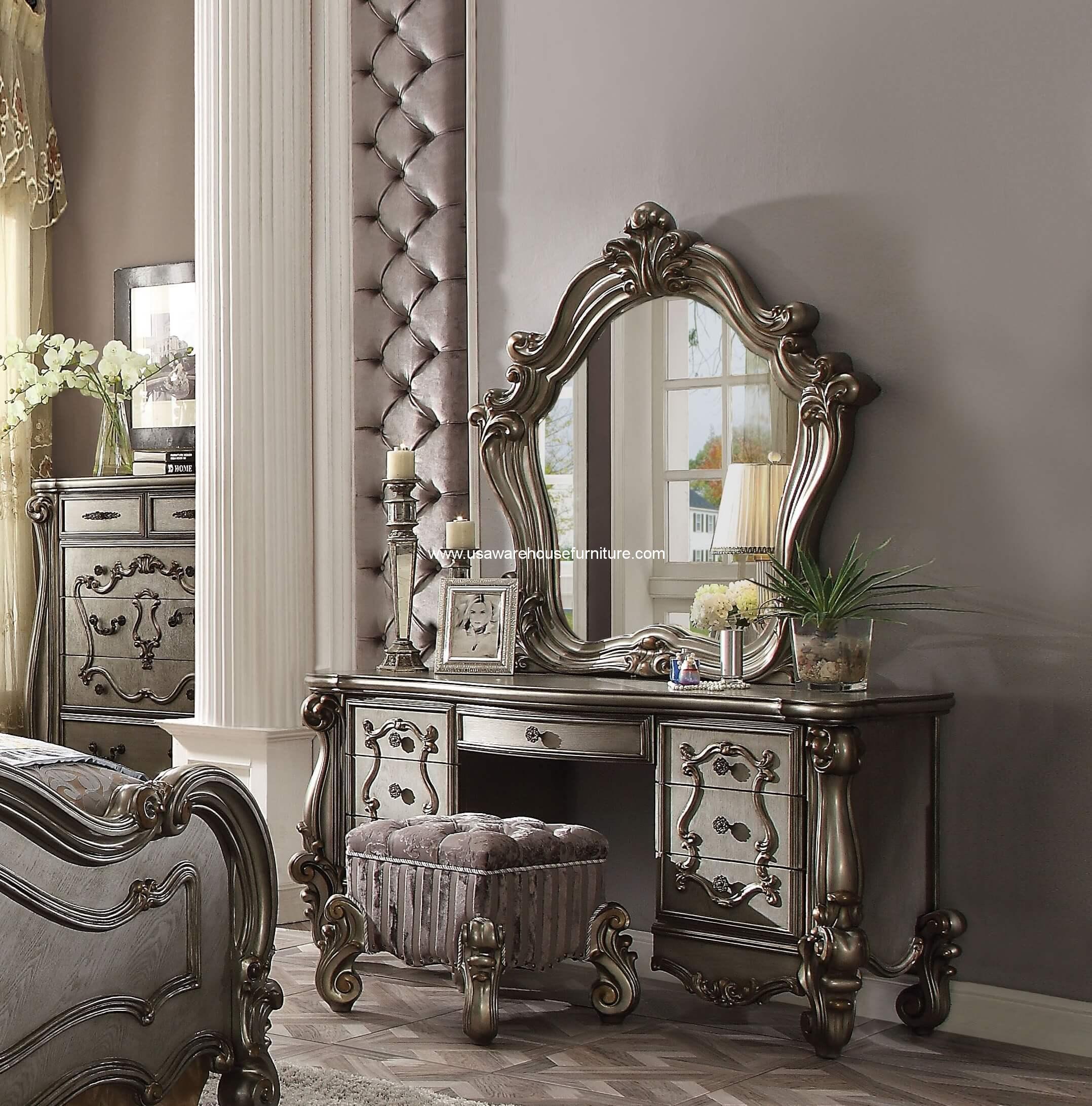 3 Piece Versailles Vanity Mirror With Stool Antique