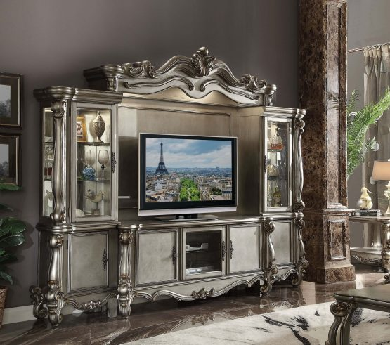 Versailles Entertainment Center Antique Platinum Finish