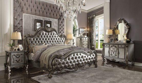 Versailles II Leather Bedroom Set Antique Platinum