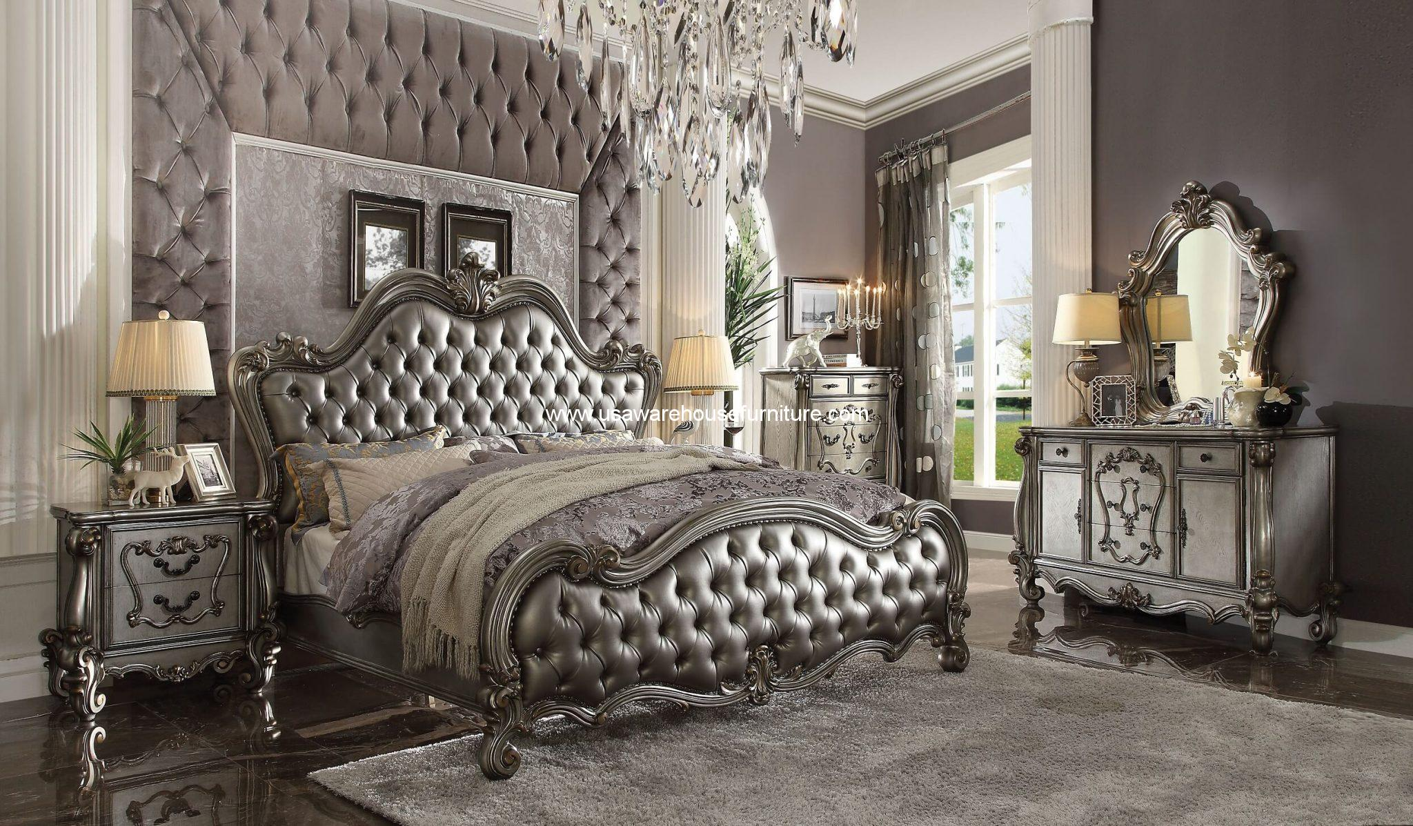 4 Piece Versailles II Leather Bedroom Set Antique Platinum ...