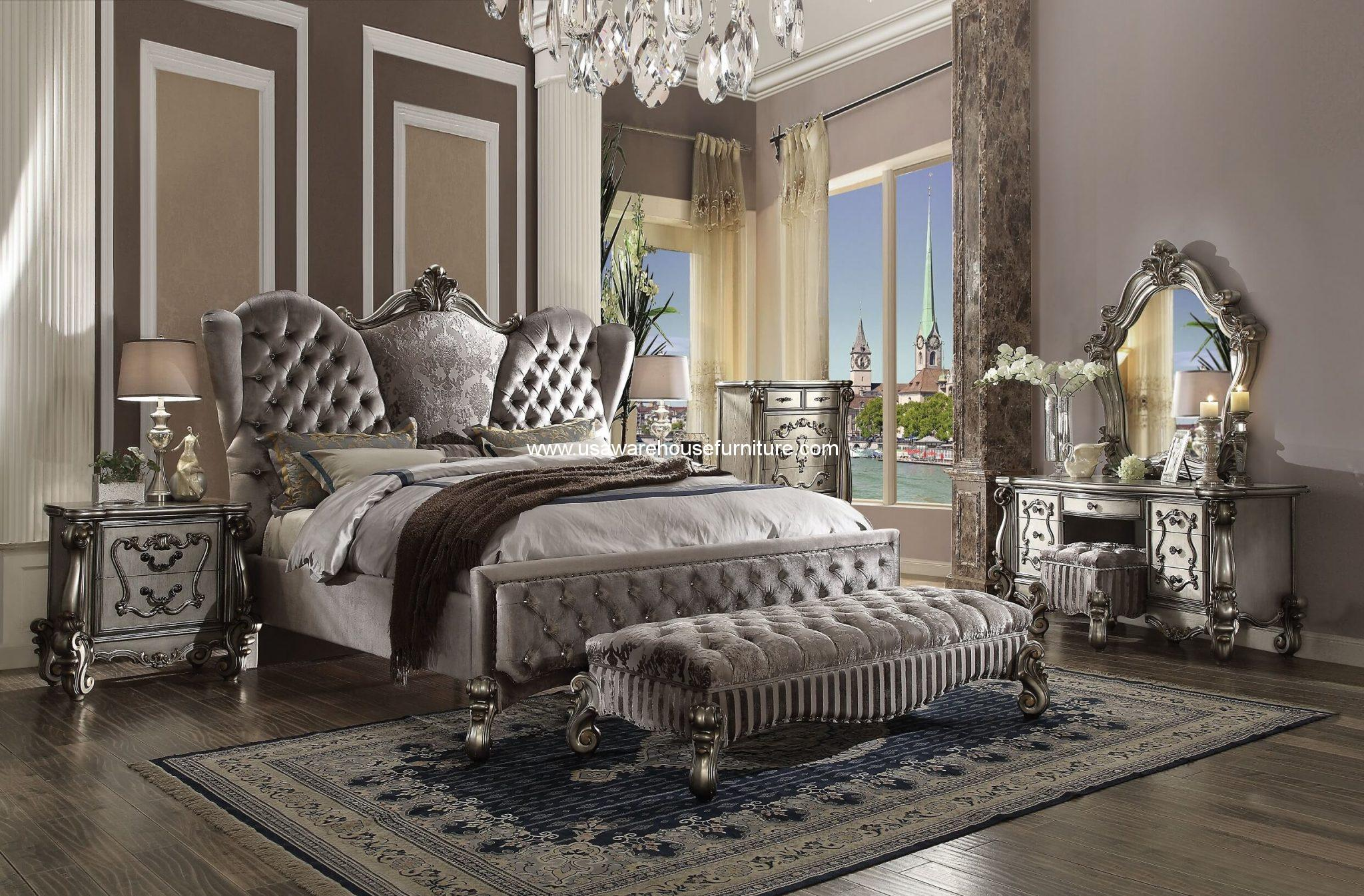 5 Piece Versailles Upholstered Bedroom Set Antique Platinum Finish ...