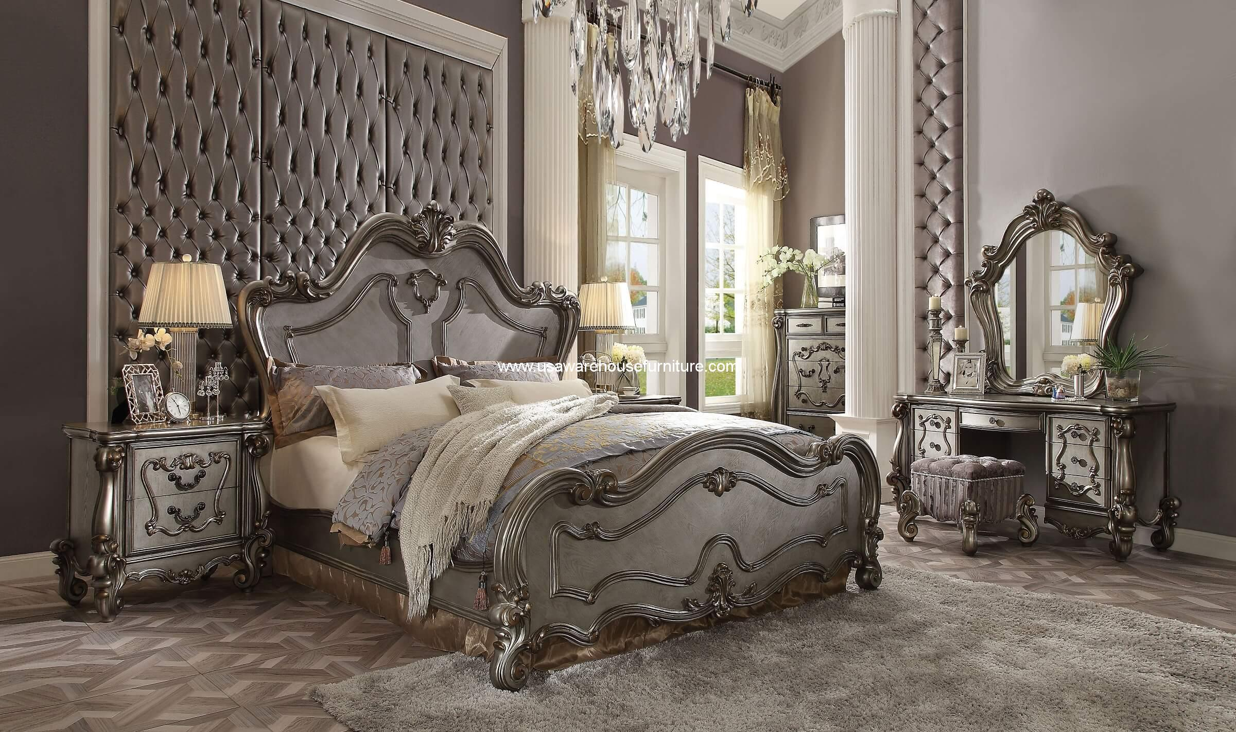 5 Piece Versailles bedroom Set Antique Platinum Finish - USA ...