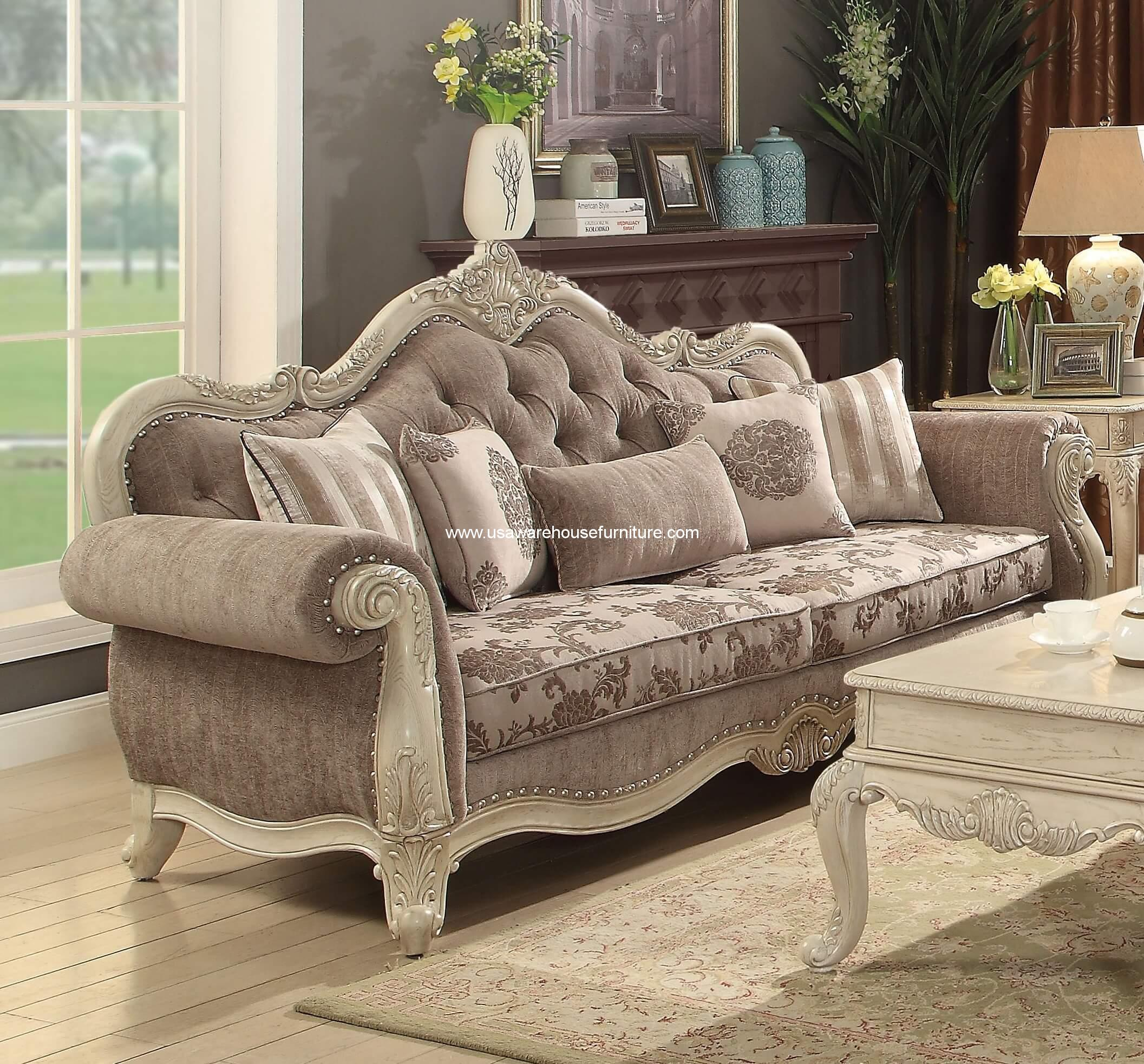 Ragenardus traditional sofa antique white finish usa for Traditional sofas