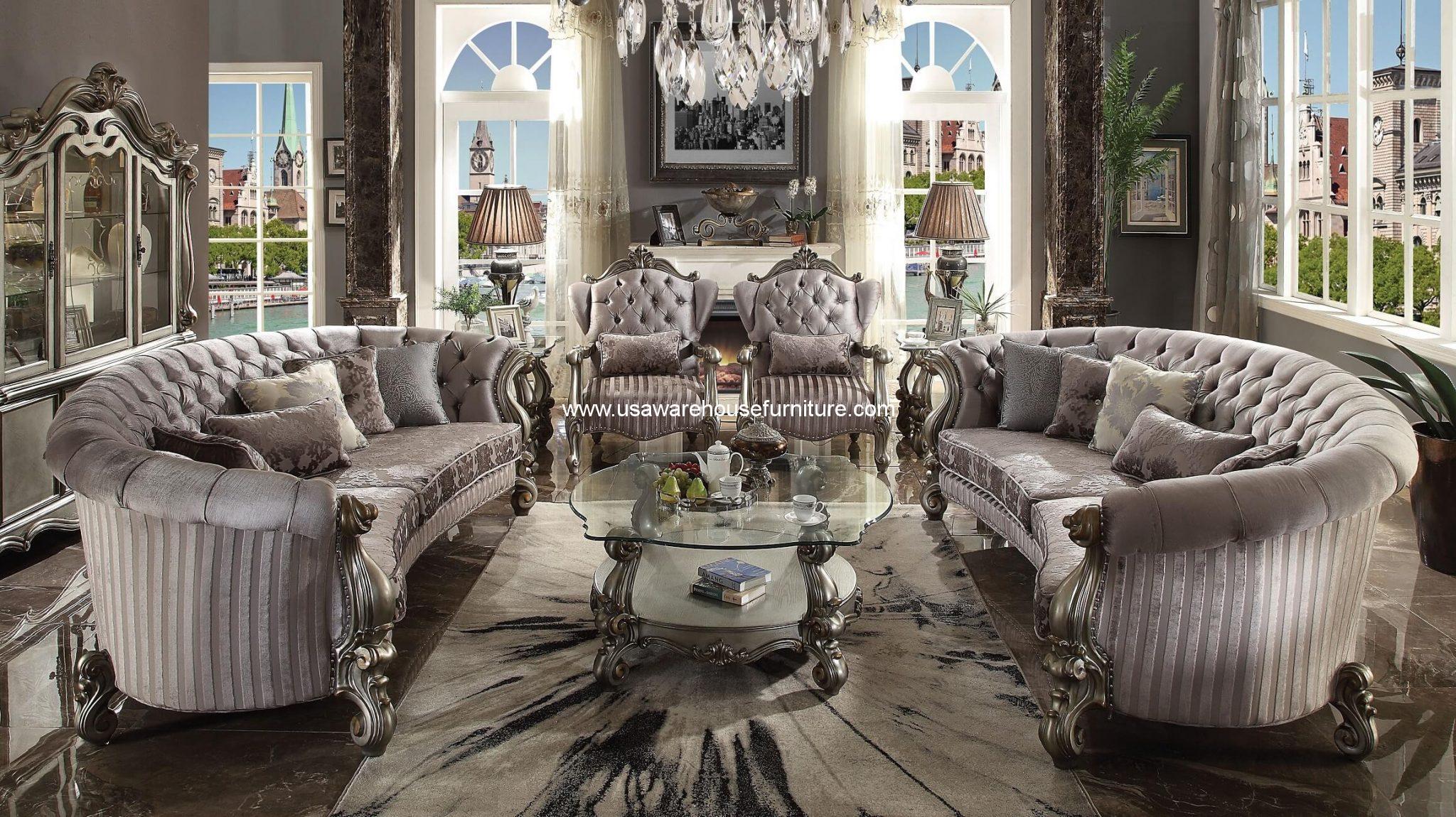 3 Piece Versailles Antique Platinum Accent Chair End