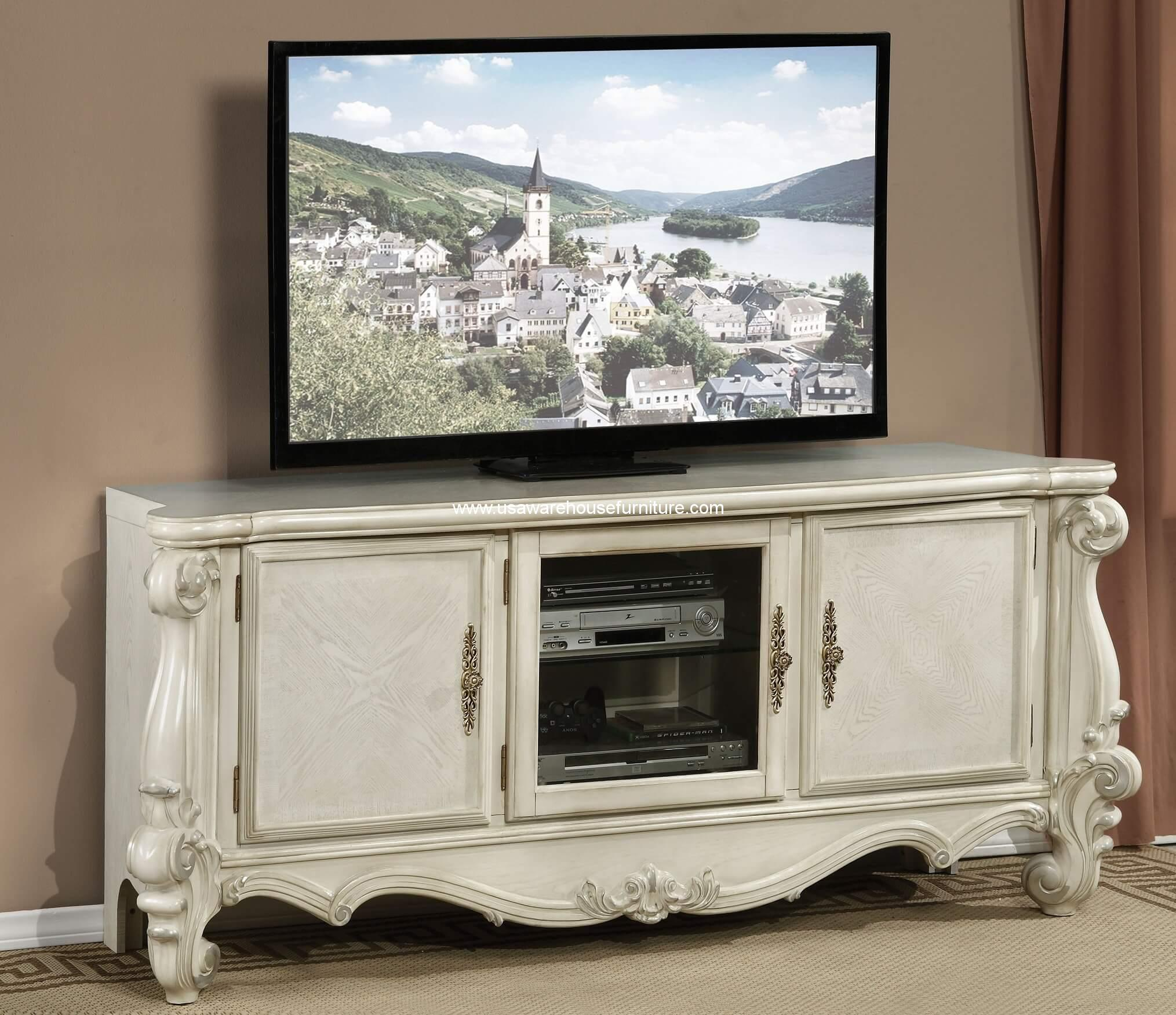 Versailles Media Console Bone White Finish Usa Warehouse