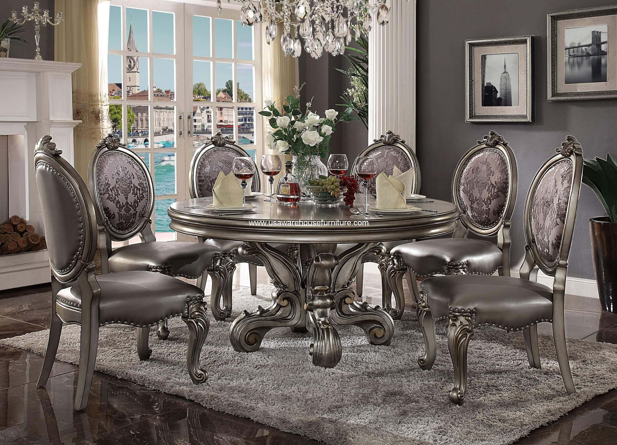 Versailles Round Dining Set Antique Platinum Finish Usa