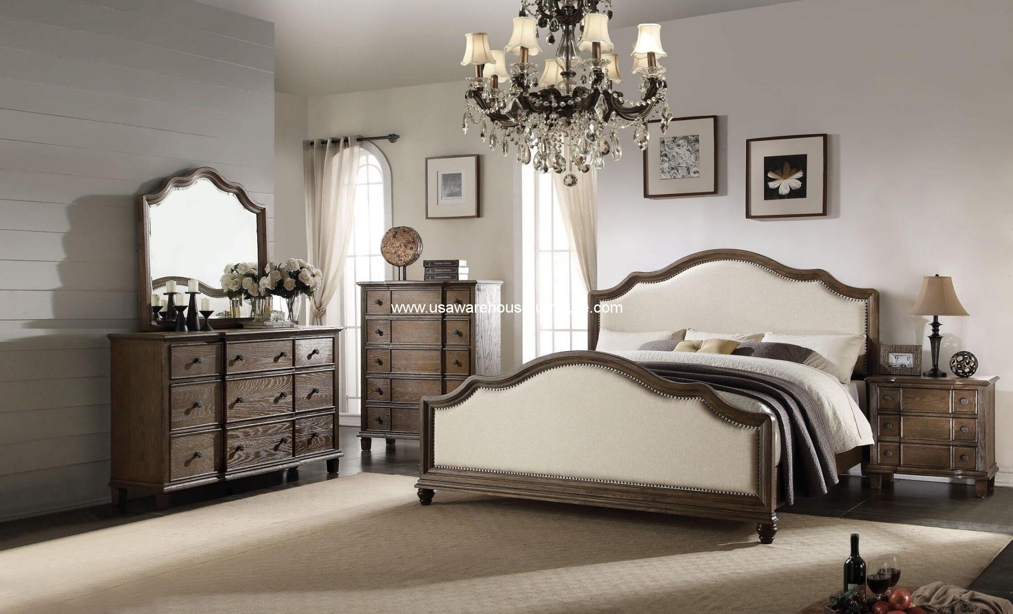 4 Piece Baudouin Bedroom Set Weather Oak Finish Usa Warehouse Furniture