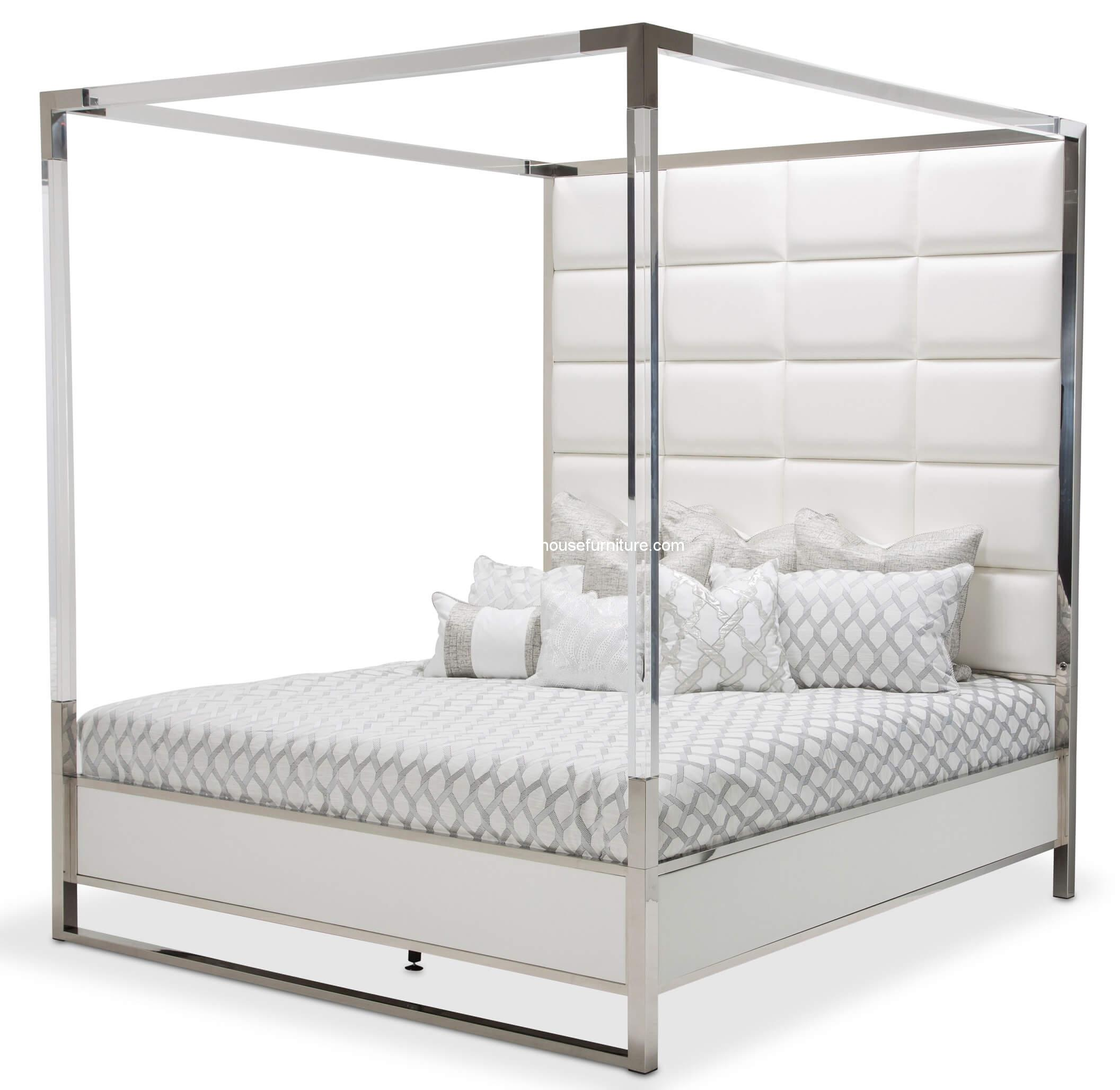 Michael Amini State St Metal Canopy Bed Usa Warehouse Furniture