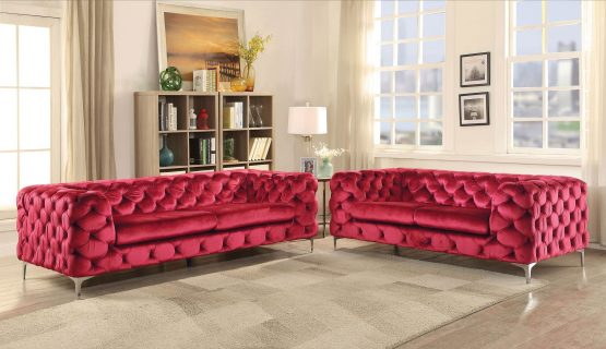 Adam Sofa Set Red Velvet