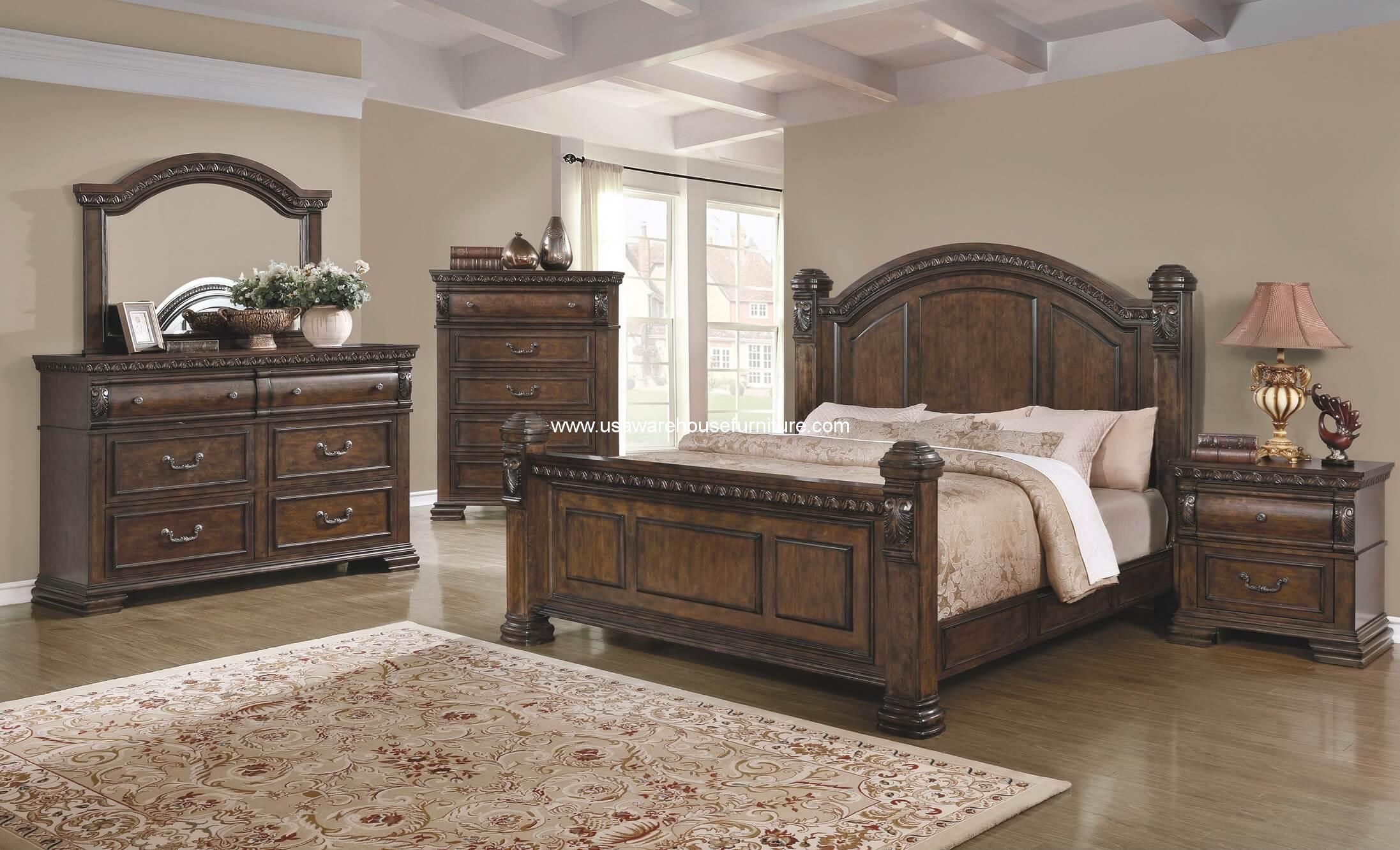 4 Piece Satterfield Bedroom Set Warm Bourbon Finish Usa Warehouse Furniture