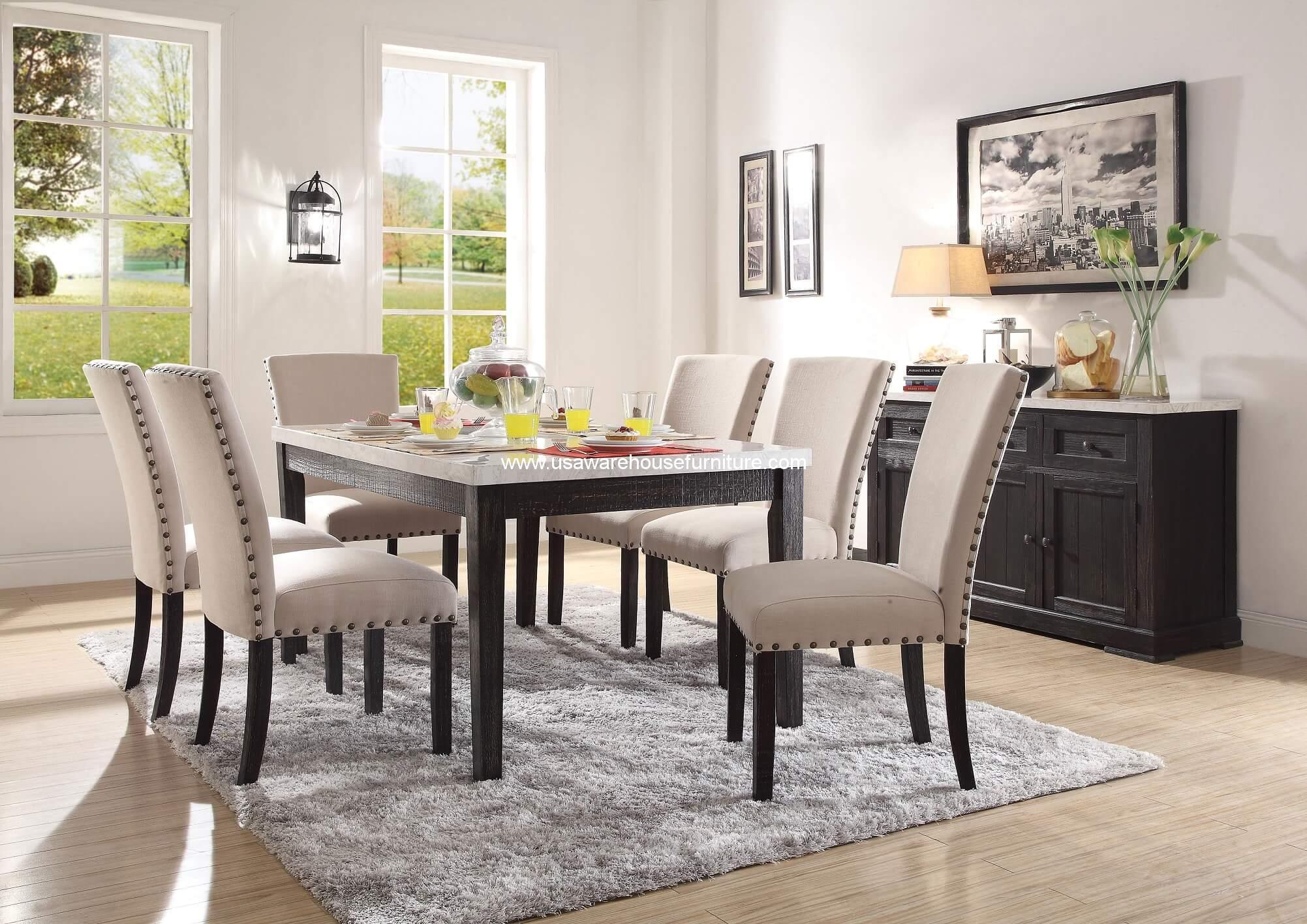 7 Piece Nolan White Marble Top Rectangular Dining Set