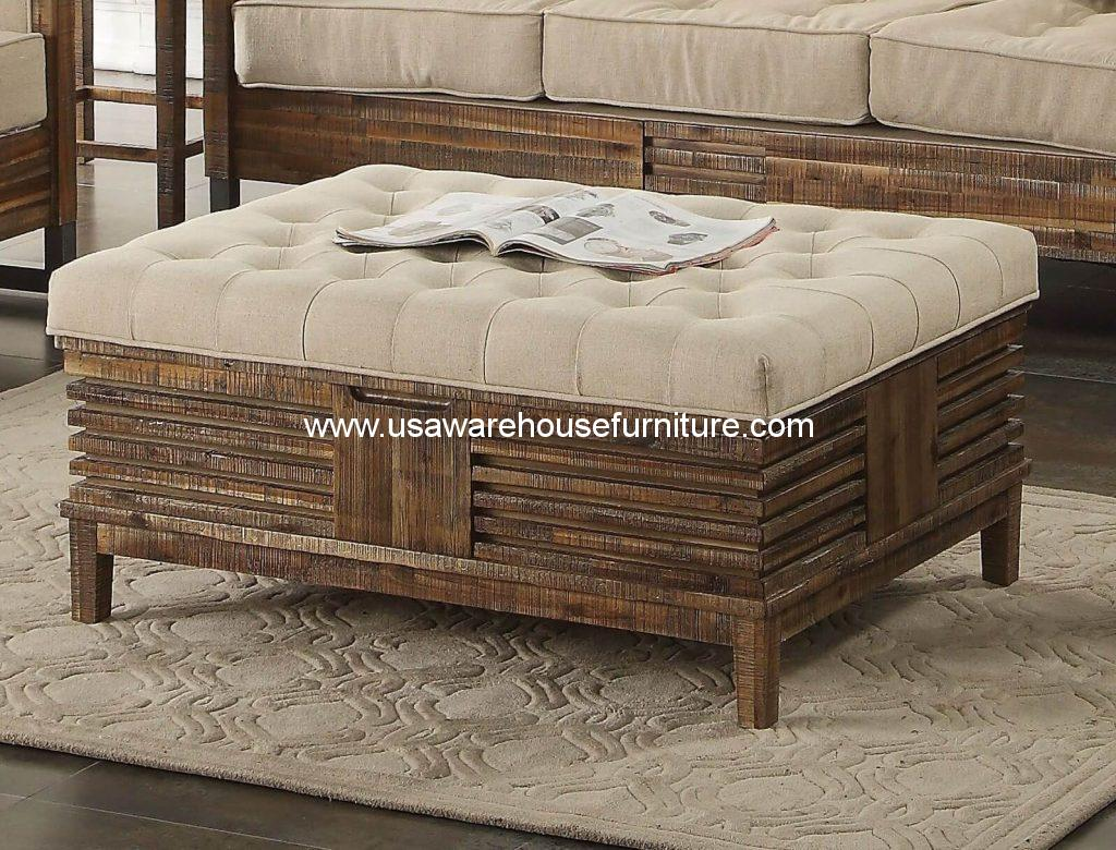 andria cocktail ottoman with storage reclaimed oak finish. Black Bedroom Furniture Sets. Home Design Ideas