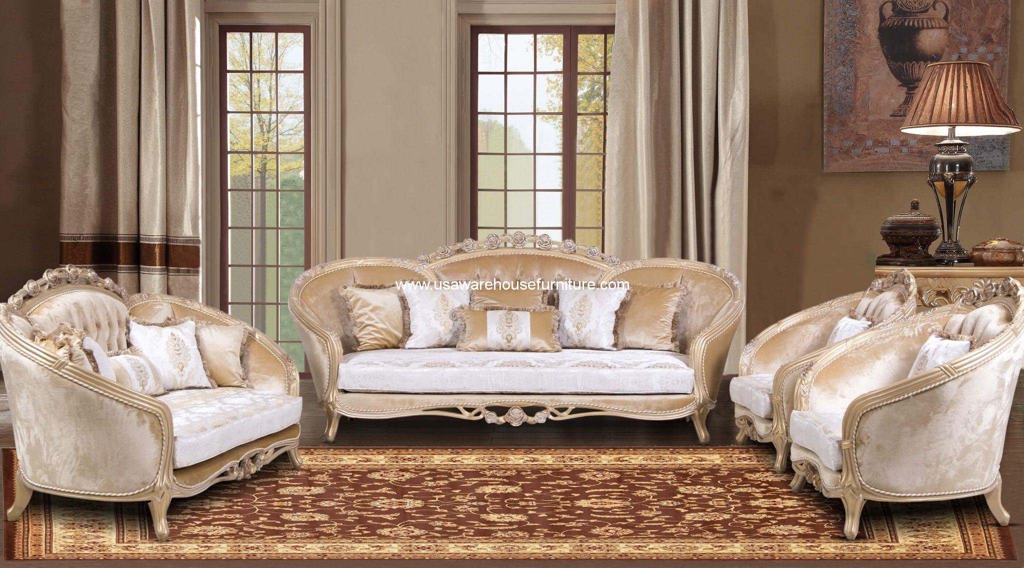 Valentina Wood Trim Sofa Set